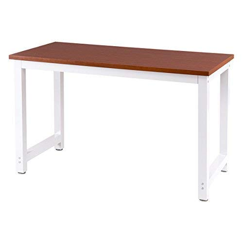TANGKULA Computer Desk Wooden Top Study Construction Portable Modern Design Laptop PC Table Rectangular Writing Table Study Home Office Workstation Furniture (Coffee Desktop White Frame)
