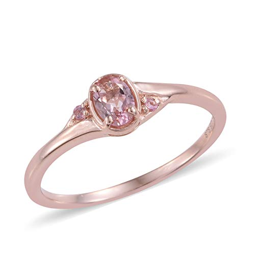 - 925 Sterling Silver Vermeil Rose Gold Plated Oval Pink Tourmaline Statement Ring Size 6 Cttw 1.2