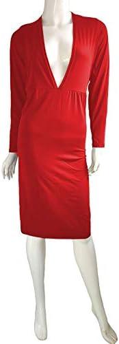 QIMANZI sukienka biznesowa, z długim rękawem, do kolan, z paskiem, elegancka sukienka z dzianiny, z dekoltem w kształcie V, z dżerseju, biznesowa, casualowa, na imprezę, do noszenia w czasie wolnym: O