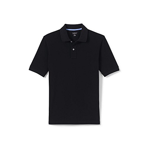 Lands' End Men's Big & Tall Mesh Short Sleeve Polo Shirt, XXL, Black (Lands Shirt End Mesh)