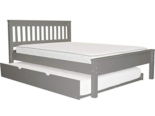Bedz King Mission Style Full Bed with a Full Trundle, Gray