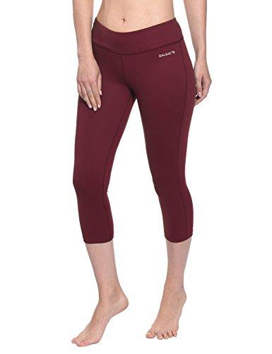 Baleaf Women's Yoga Capri Pants Workout Running Legging Inner Pocket Ruby Wine Size M