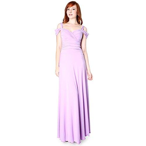 Evanese Women's Elegant Slip On Long Formal Evening Dress with Shoulder bands L. Lavender