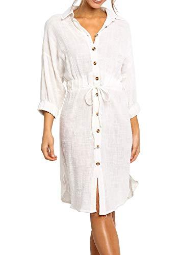 Tie Waist Linen Dress - R.Vivimos Women's Summer 3/4 Sleeve Linen Button Down Casual Knee Length Shirt Dress with Tie Waist (Medium, White)