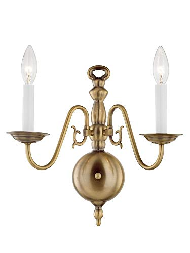 Livex Lighting 5002-01 Williamsburg 2 Light Antique Brass Wall Sconce Antique Brass Williamsburg 1 Light