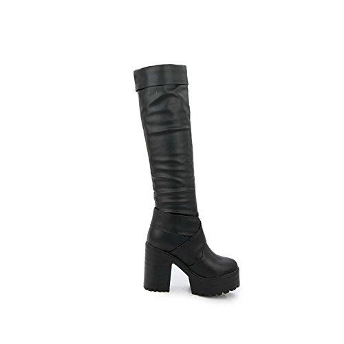 Odomolor Damen Hoher Absatz Weiches Material Hoch-Spitze Rein Ziehen auf Stiefel, Schwarz, 34