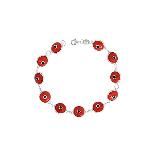 Sterling Silver Evil Eye Bracelet, 10MM Glass Evil Eye Bracelet, Silver Beaded Bracelet 7 Inch (red)