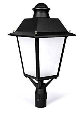 Hyperikon Lamp Post Light Fixture LED, 60W Street Lamp, Dimmable Mission Post Light Outdoor, 7500 Lumens, 5000K, IP65 Waterproof High Post Mount Lantern, Commercial, Antique, Colonial, Vintage, UL