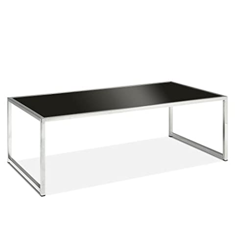 AVE SIX Yield Modern Coffee Table with Chromed Steel Base, Black Glass Top - Geo Coffee Table