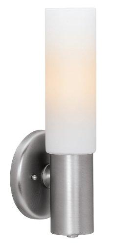 (Cobalt  - 1-Light Wall Sconce - Brushed Steel Finish - Opal Glass Shade)