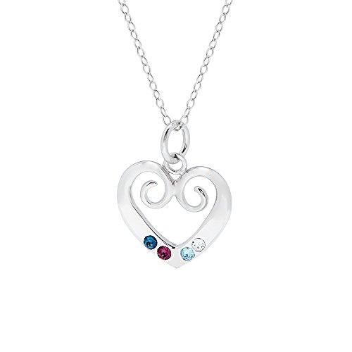Sterling Silver 4 Stone Custom Simulated Birthstone Heart Pendant (16