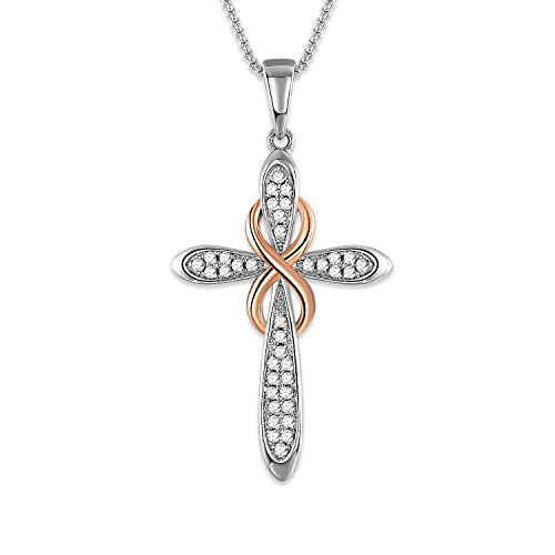 (SNZM White Gold Pendant Necklace for Women Cubic Zirconia Crystals Infinity Jewelry Gifts for Birthday, for Her)