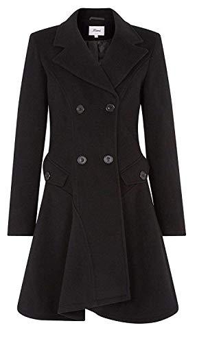 De la Crème Women's Wool & Cashmere Jacket Ladies Winter Double Breasted Flary Coat