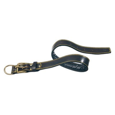"""Classic Padded Leather Dog Collar Size: 1 1/5"""" Wide x 24 3/4"""" Long, Color: Black"""