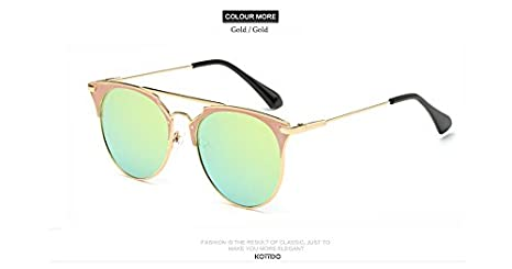 b1c4416ec7 GigaMax TM Fashion New Mirror Rose Gold Sunglasses Women Round ...