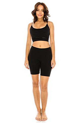 The Classic Women's Stretch Cotton Jersey Bike Shorts in Black - 2XL Fashion Knit Legging