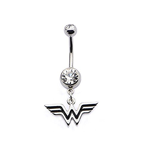 (DC Comics 14g 7/16 Navel with Clear CZ and Wonder Woman Logo Dangle Charm Stainless Steel Body Piercing Jewelry)