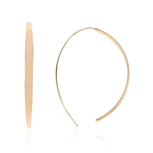 RIAH FASHION Modern Metallic Arc Bar Pull Through Threader Earrings - Simple Lightweight Curved Vertical Drop Open Fish Hoop Dangles (Curved Slim -