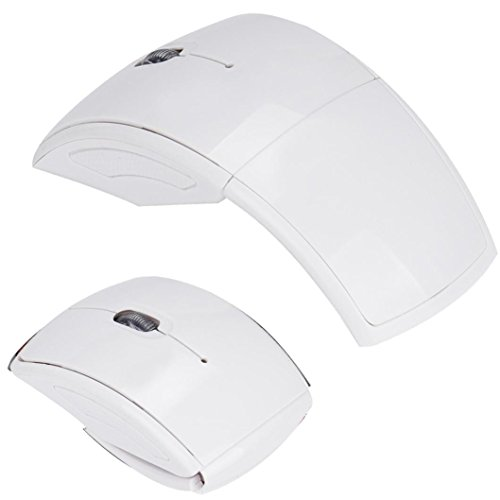 (Mchoice 2.4G Wireless Foldable Folding Arc Optical Mouse for Microsoft Laptop Notebook (White) )