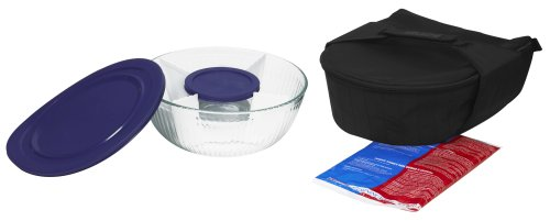 Amazon.com | Pyrex Portables Serving Bowl Set With Insulated Carrier Clear  With Black Carrier: Bake And Serve Sets: Serving Bowls