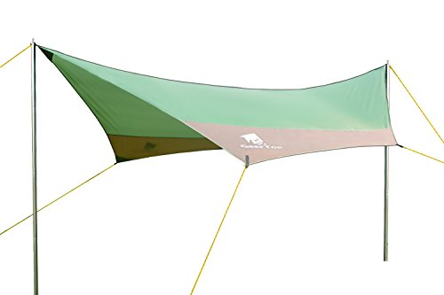 Geertop 4-7 Persons 14'5'' x 13'5'' Poles Included Large Waterproof Rain Fly Sun Shelter Tent Tarp, Green by Geertop