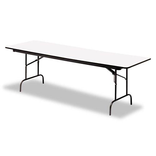 Laminate Rectangular Traditional Desk (Iceberg ICE55217 Premium Wood Laminate Folding Table with Charcoal Steel Legs, 30
