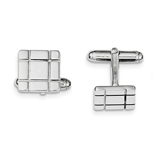 Brilliant Bijou Solid .925 Sterling Silver Rhodium-Plated Grooved Design Cuff Links 14 mm
