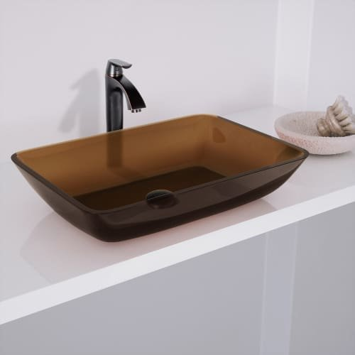 VIGO VG07087 Rectangular Sheer Sepia Glass Vessel Bathroom Sink by VIGO (Image #4)