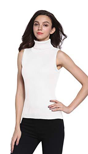 Sofishie Sleeveless Ribbed Turtle Neck Sweater Tunic - White - Medium