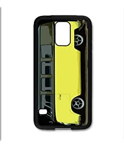Samsung Galaxy S5 SV Black Rubber Silicone Case - VW Bus Black and Yellow Slammed Lowered Panel 13 window