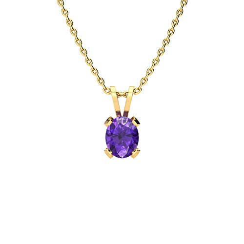 - 3/4 Carat Oval Shape Amethyst Necklace In Yellow Gold Over Sterling Silver, 18 Inches
