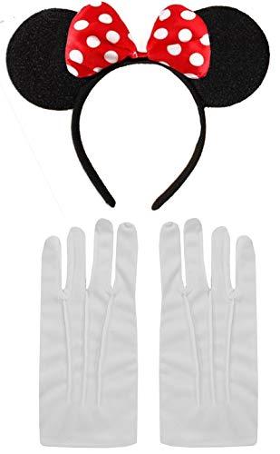 Black Red White Polka Minnie Mouse Disney Fancy Dress Ears Headband + Gloves Set by DangerousFX -