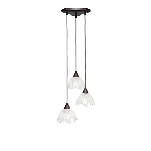 Toltec Lighting 28-DG-759 Europa 3 Light Multi-Light Mini Pendant with Italian Ice Glass, 7
