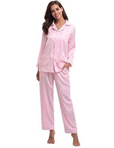 Aibrou Women's Satin Pajamas Set Long Sleeve and Long Button-Down Sleepwear Loungewear (X-Large, Pink) (Womens Pajamas Sets Pink)