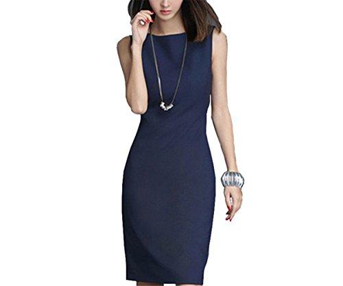 New Elegant Office Dress Summer Dresses Women O-neck Wear to Work Sheath Bodycon Dress Work Dresses Blue (70s Dress Up Ideas)