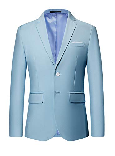 (MOGU Mens Suit Jacket Slim Fit Single Breasted Two Button 10 Colors US 44 Asian 6XL Light)