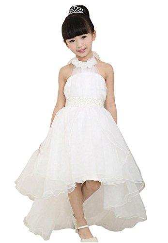 jeansian Girl Kid Wedding Cute Party Dress Shirt CH015 White 140