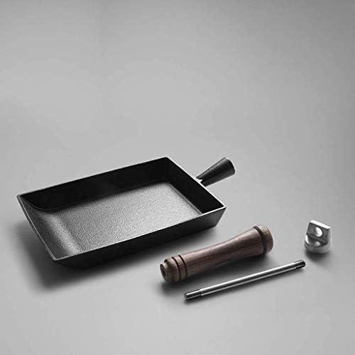 Place épais en fonte Pot, Omelette Pan Poêle à oeufs, Revêtement anti-adhésif, avec poignée en bois, 20,5 * 15.5cm JIAMING