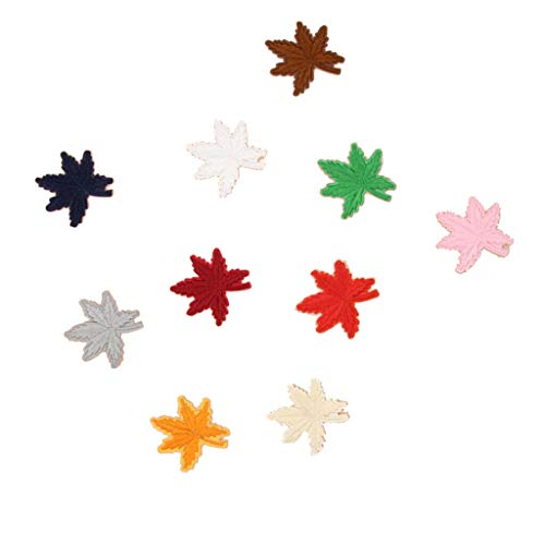 10 Maple Leaf Embroidered Patches Sew/Iron On Applique for Jeans Pants Shoes