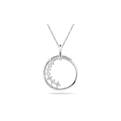 0.10-0.14 Cts SI2 - I1 clarity and I-J color Diamond Journey Circle Pendant in 18K White Gold