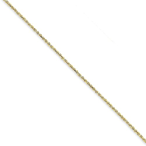 14K Yellow Gold 1.3mm Solid Diamond-Cut High Polished with Lobster Rope Necklace Chain -9'' (9in x 1.3mm) by Mia's Collection (Image #4)