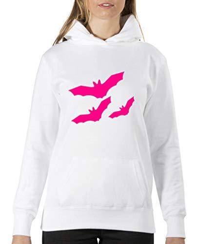 Felpa Felpa con Lunga Shirts Rosa Donna Bianco Comedy Manica Manica Cappuccio P6E5wOq