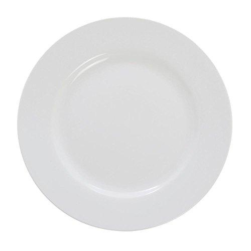 ITI BL-8 Bristol Porcelain 9-1/4-Inch Fine Porcelain Plate, Bright White, 24-Piece