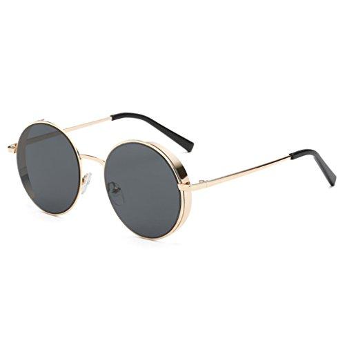 Transer Simple Rounded Design Women Men Classic Metal Frame Mirror Sunglasses Eye Glasses - Eyeglasses Rounded