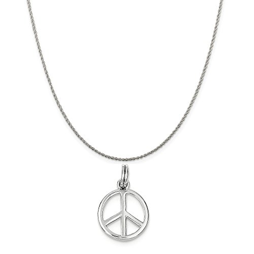 Mireval Sterling Silver Polished Peace Sign Charm on a Sterling Silver Rope Chain Necklace, 18