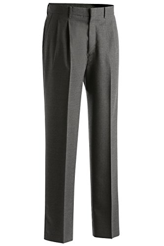 Ed Garments Men's Classic Pleated Front Dress Pant, DARK GREY, 46 UL (Pleated Dress Pants Grey)