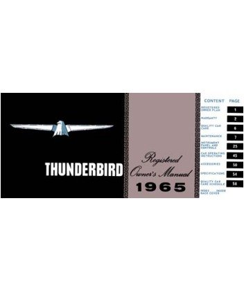 1965 ford thunderbird owners manual user guide reference. Black Bedroom Furniture Sets. Home Design Ideas