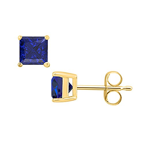 Gold & Diamonds Jewellery 1.90 CT Princess Cut Blue Sapphire (4MM) Solitaire Stud Earrings 14K Yellow Gold Over .925 Sterling Silver