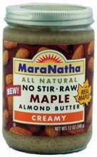 Maple Almond - Maranatha Creamy Raw Maple Almond Butter, 12 oz