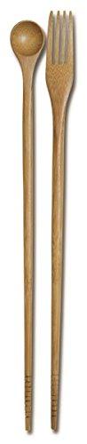 JapanBargain (3789) Taste N Cook Burnished Bamboo Chopsticks Chopsticks Spoon Fork
